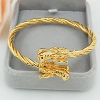 yellow gold filled two dragons head cuff bangle men women jewelry