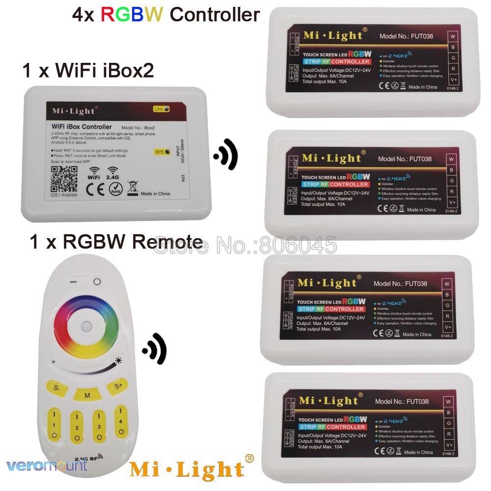 MiLight LED Strip 4-Zone RGBW LED Controller DC12V 24V 10A 2.4G Draadloze Afstandsbediening WiFi Compatibel voor RGB + CW of RGB + WW Striplight