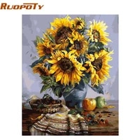 ruopotydiy frame diy painting by numbers wall art picture acrylic chrysanthemum flowers paint by numbers kits for home decor art