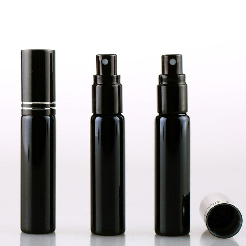 10ML portátil negro UV botella de Perfume recargable de vidrio con atomizador Perfume vacío caso con tangente Cove