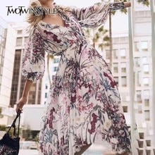 TWOTWINSTYLE Print Midi Dress Women V Neck High Waist Bandage Lantern Sleeve Pleated Dresses Female Spring 2020 Fashion New