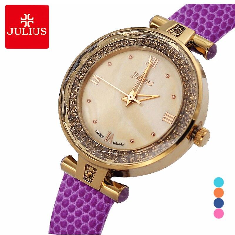 Reloj de pulsera de cristal de cuarzo japonés para mujer, reloj de pulsera de cuero para mujer Julius