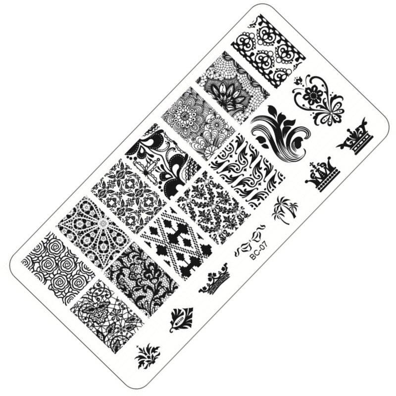 1 folha de renda e flores série carimbar placa imagem da arte do prego, 6*12cm aço inoxidável molde polonês manicure estêncil ferramentas BC-07