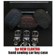 Only Red  original handmade Hand Sewing Car Key Case Genuine Leather Car Key Cover fit for HYUNDAI MISTRA IX35 IX25 NEW ELANTRA