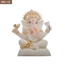 Ganesha-statue de bouddha peinte en résine   Éléphant indien, dieu, statue religieuse Feng Shui, accessoires de décoration pour la maison, artisanat