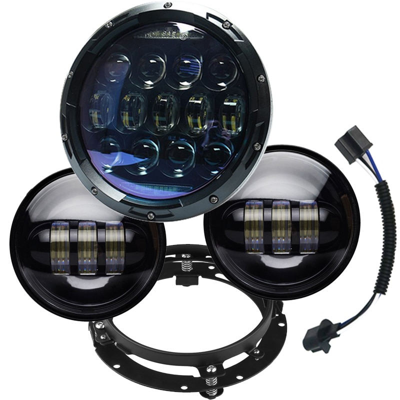 "TNOOG 135w 7 ""faro LED negro con 4,5 pulgadas negro que pasa las lámparas de niebla para faro LED para motocicleta con anillo de montaje de 7 pulgadas"