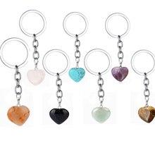 Rose Roze Natuurlijke Hart Steen Sleutelhanger Crystal Quartz Healing Stone Chakra Hart Sleutelhanger Ring Sleutelhanger Sieraden Gift