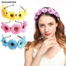 DUOJIAOYAN nouveaux accessoires de cheveux de tournesol femmes bandes de cheveux fête fleur couronne couronne de mariage affaire directe