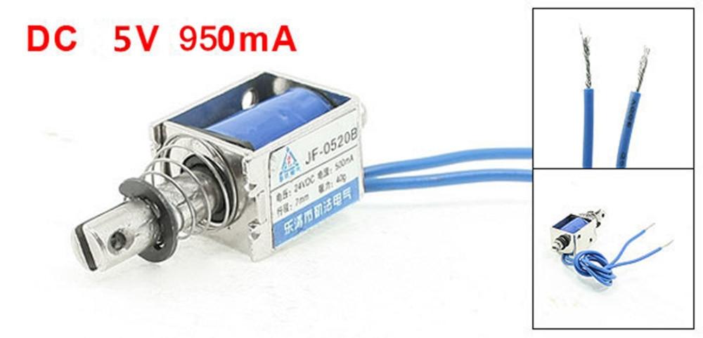 JF-0520B DC 5V 950mA 10mm Stroke 0.35N 35g 0.08LB Holding Force Open Frame Push Type Solenoid Electromagnet
