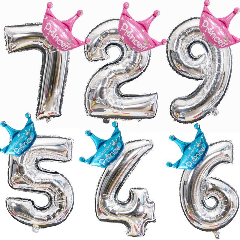 Coroa 32/40 Polegada figura da folha balões 1 2 3 4 5 6 7 8 9 anos de idade criança meninos meninas feliz aniversário balão decoração do chuveiro do bebê
