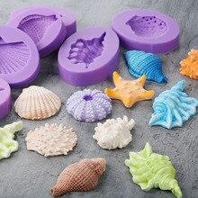 Moule bricolage à gâteau en forme de Fondant   Mini hippocampe coquillières forme de conte starfis, moule à gâteau en Silicone de qualité alimentaire, outils de décoration de gâteaux en chocolat