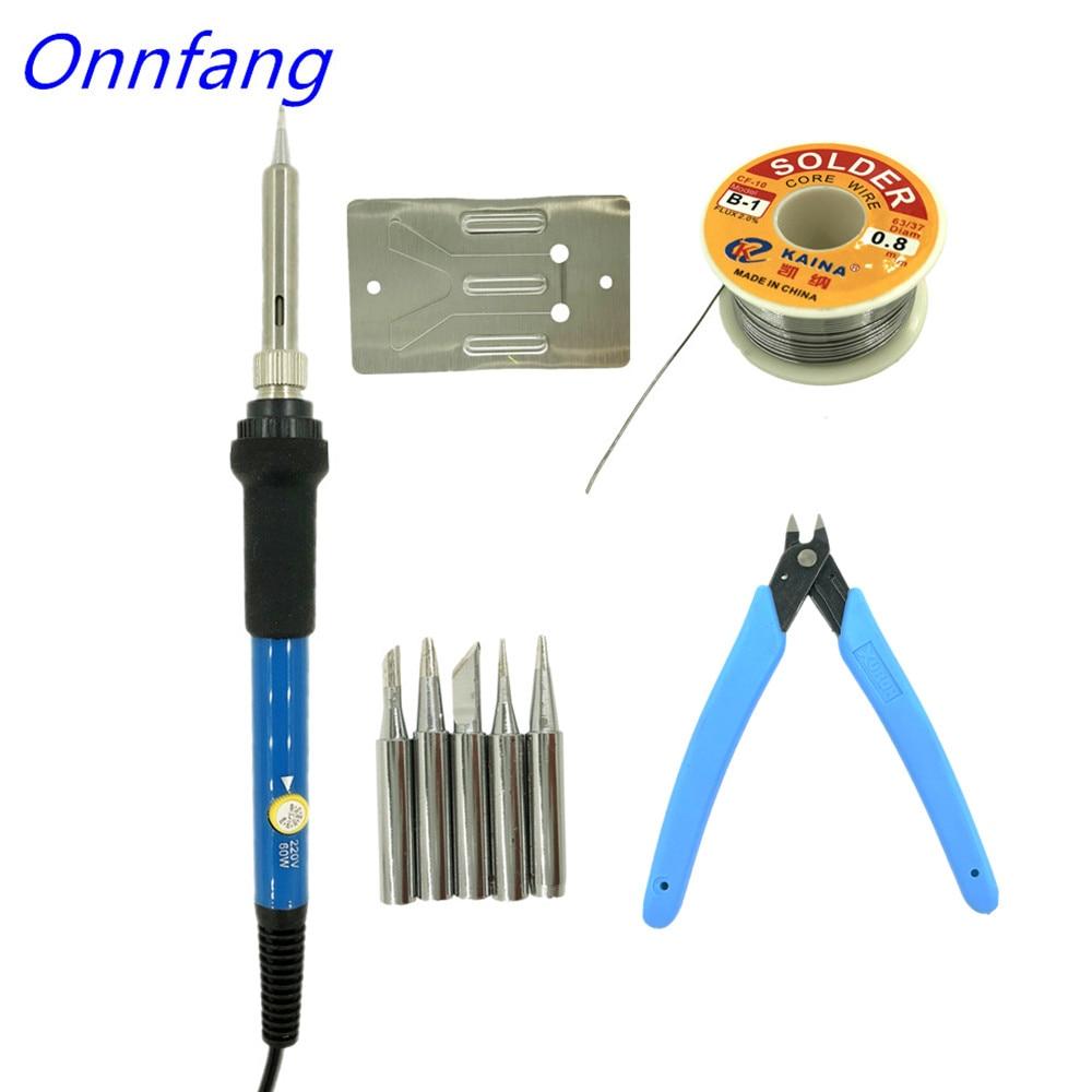 Soldadores eléctricos Onnfang, 60W, temperatura ajustable, hierro eléctrico, Mini Mango, lápiz de calor, soldador