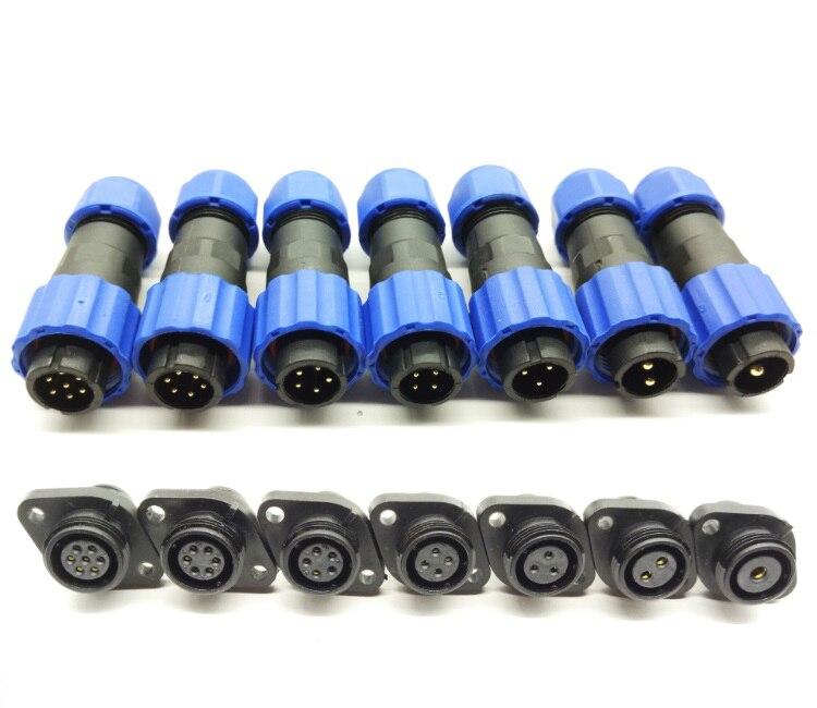 IP68 impermeable aviación conector de cable macho y hembra de 1, 2, 3, 4, 5, 6 7 Pin 13mm Tipo de reborde con 2 agujeros