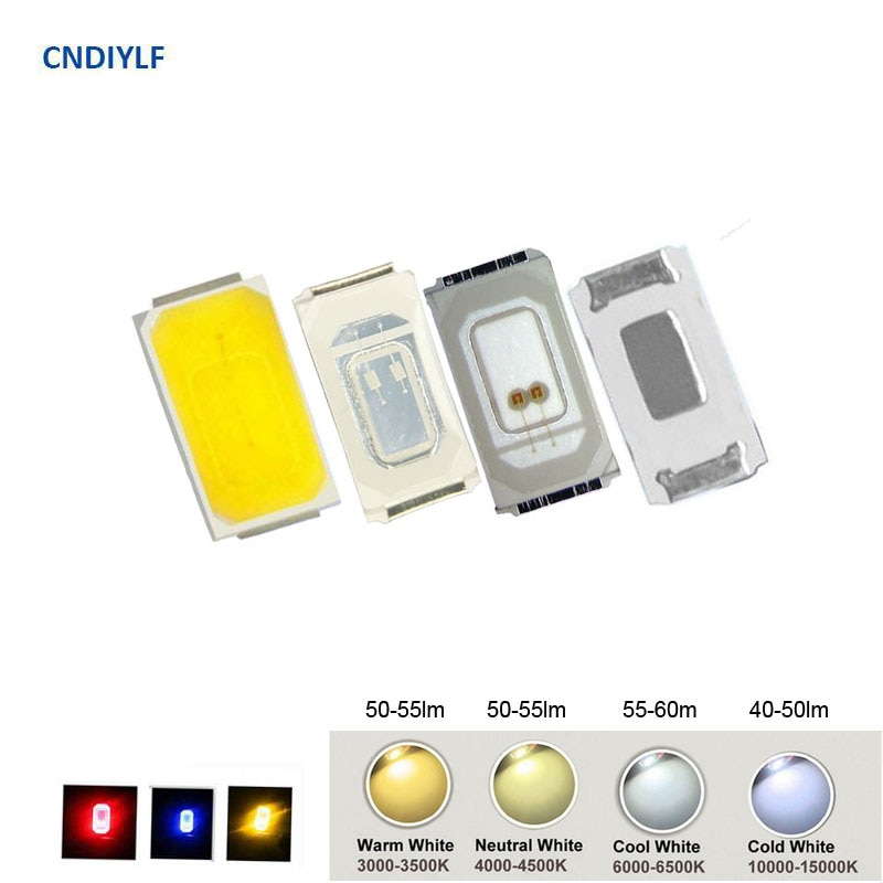 100 Uds SMD 5730 diodo blanco SMD 5730 LED 0,5 W 2800K a 15000K disponible 55-60lm Chip 5730 SMD 3V 150mA PCB SMT Diodo emisor