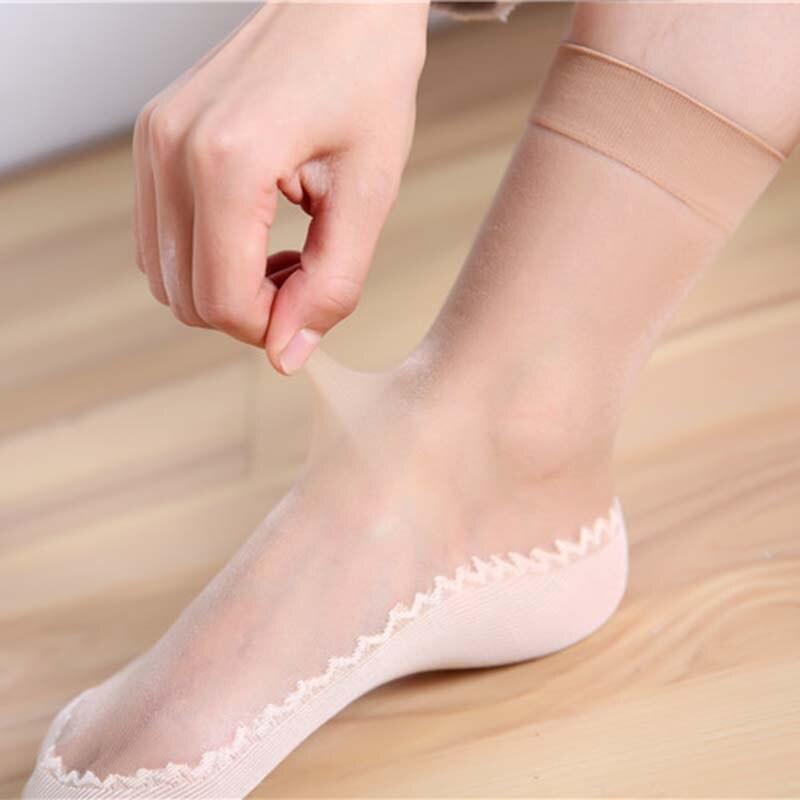 1 par primavera verão mulheres meias macias casuais não-deslizamento inferior splice moda transparente senhoras meninas fina meia de seda gd99