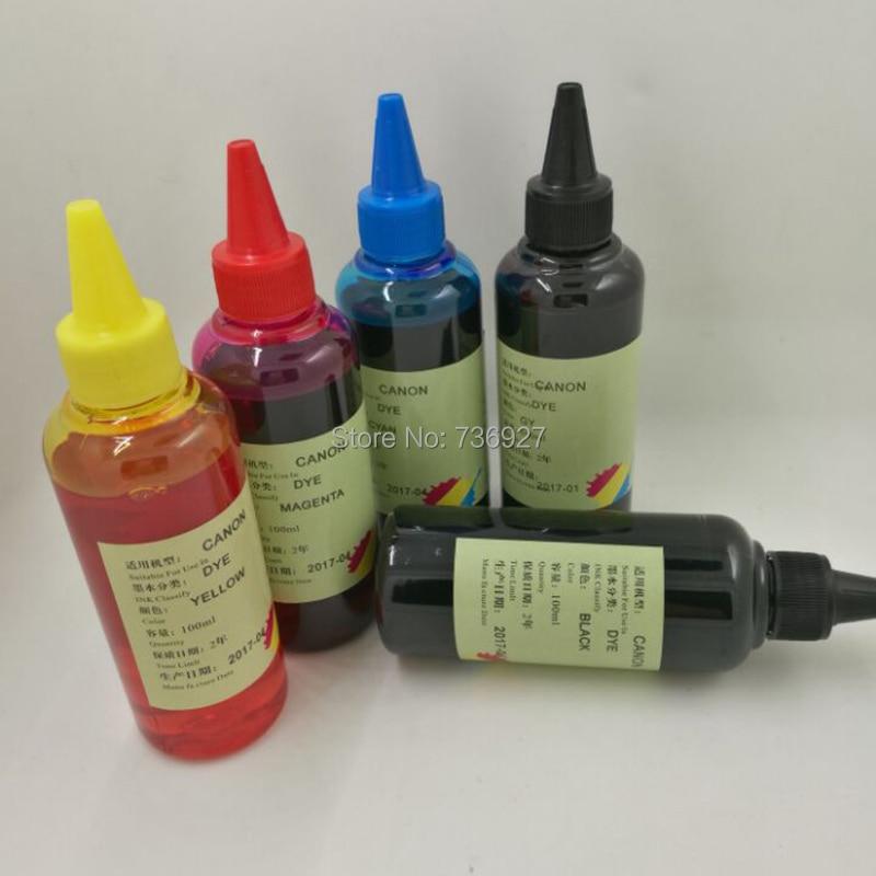 5X100 ml PGI-725 CLI-726 PGI725 CLI726 recarga de tinta de tinte para Canon IP4870 IP4970 IX6560 MG5170 MG5270 MG5370 MX886 MX897 impresora