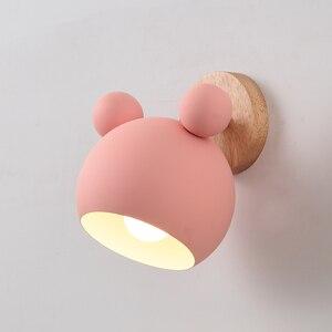 Novelty LED Wall Lamp Lovely Panda Wood Metal Indoor Shop Bar Restaurant Living Room Background Light Fixture