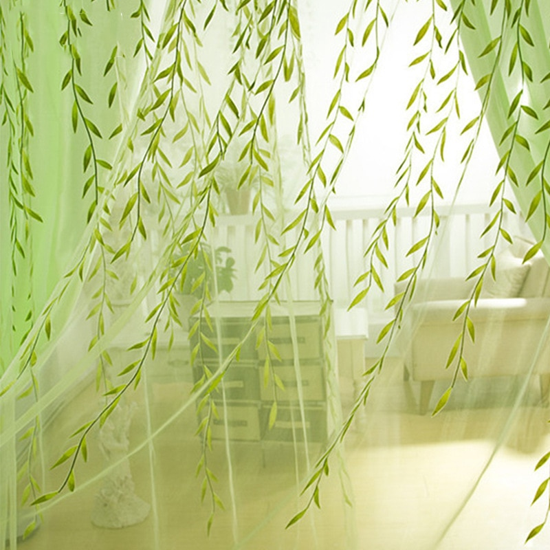 Cortinas transparentes de sauce verde Pastoral, hilo de ventana para sala de estar, telas de tul, gasa para cocina, Panel de cortina Simple, Textiles para el hogar