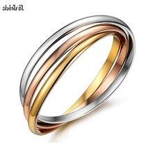 Marque bijoux en acier inoxydable amitié Bracelets Bracelets 3 couleurs trinité amour Rose or Bracelet Boho Bracelets pour filles femmes