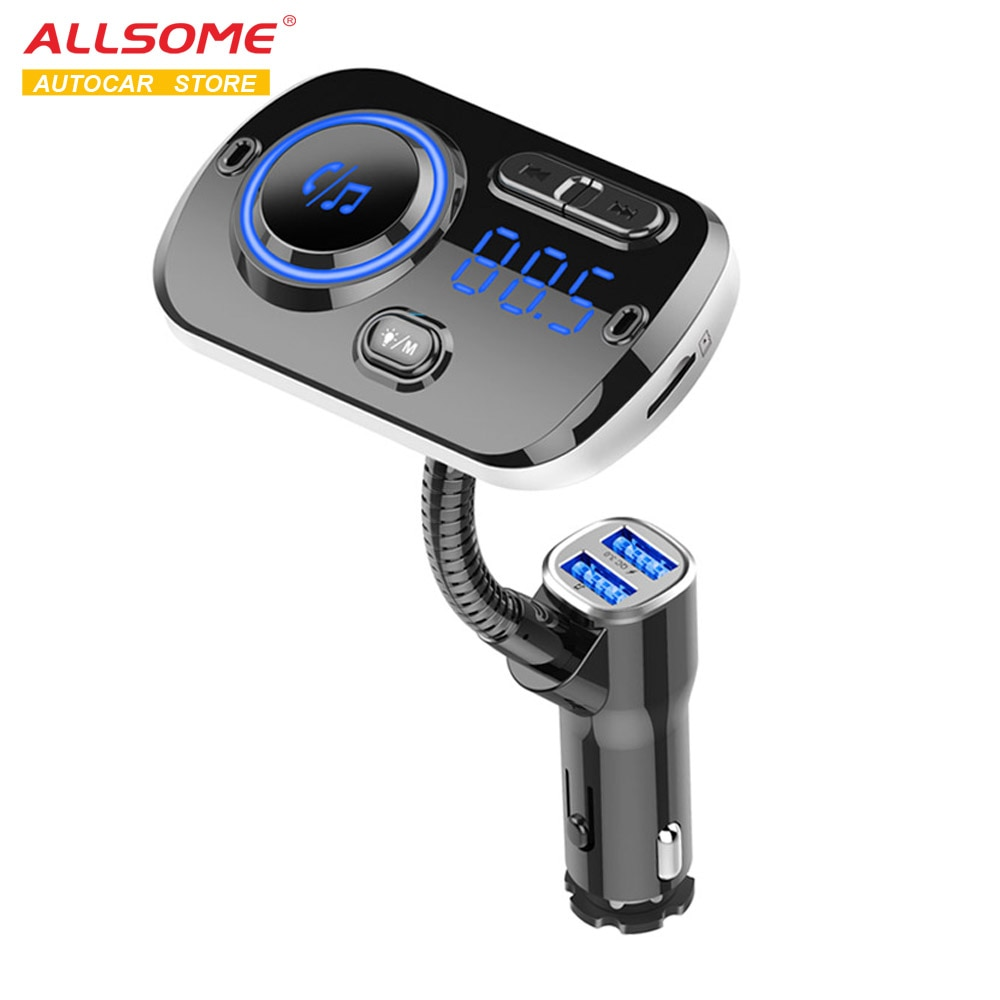 ALLSOME transmisor de FM Bluetooth 5,0 Kit manos libres MP3 reproductor de música apoyo TF tarjeta/U disco reproducción Dual USB carga rápida MA30