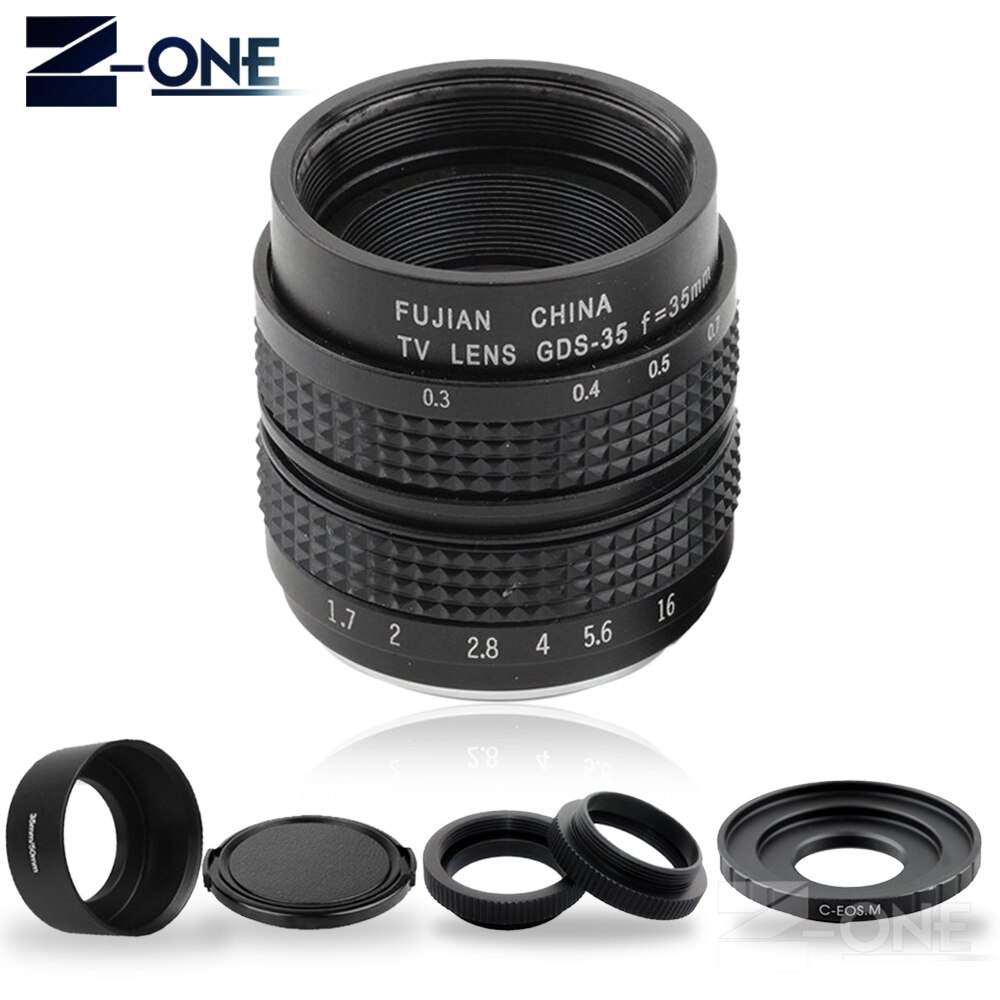FUJIAN 35mm F1.7 CCTV lente Filme TV + C Monte + lente Macro + anel De Metal capa para Canon EOS M Mirrorless M2 M3 M5 M6 M10 M100 câmera