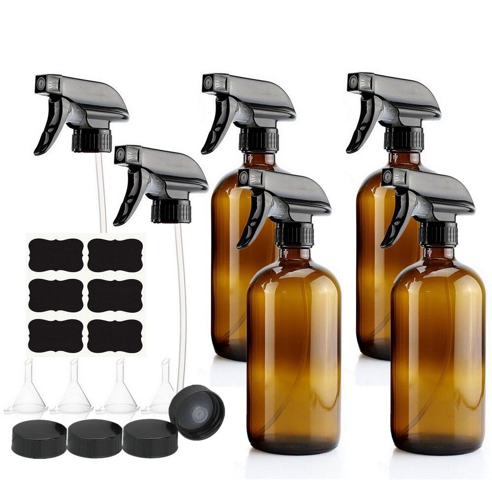 Paquete de 4 ámbar de 500ml botella de Spray de vidrio con pulverizador de gatillo para aceites esenciales limpieza aromaterapia 16 Oz vacía recargable marrón
