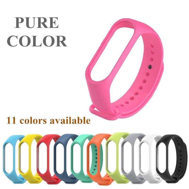 Mi banda 4 3 silicone cinta de cor pura para xiaomi mi banda 4 3 pulseira de substituição pulseiras de pulso miband 4 miband 3 correias