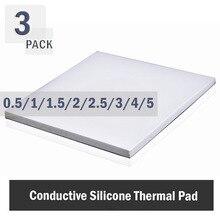 3 pièces 100x100mmThermal De 0.5mm 1mm 1.5mm 2mm 3mm 4mm 5mm dissipateur thermique pour processeur De Refroidissement Conductrice Silicone Pad Pad Thermique Blanc