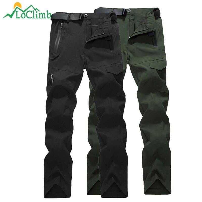 LoClimb Outdoor Hiking Pants Men Climbing/Fishing/Trekking Pants Summer Mens Trousers Quick Dry Waterproof Pants Military AM383