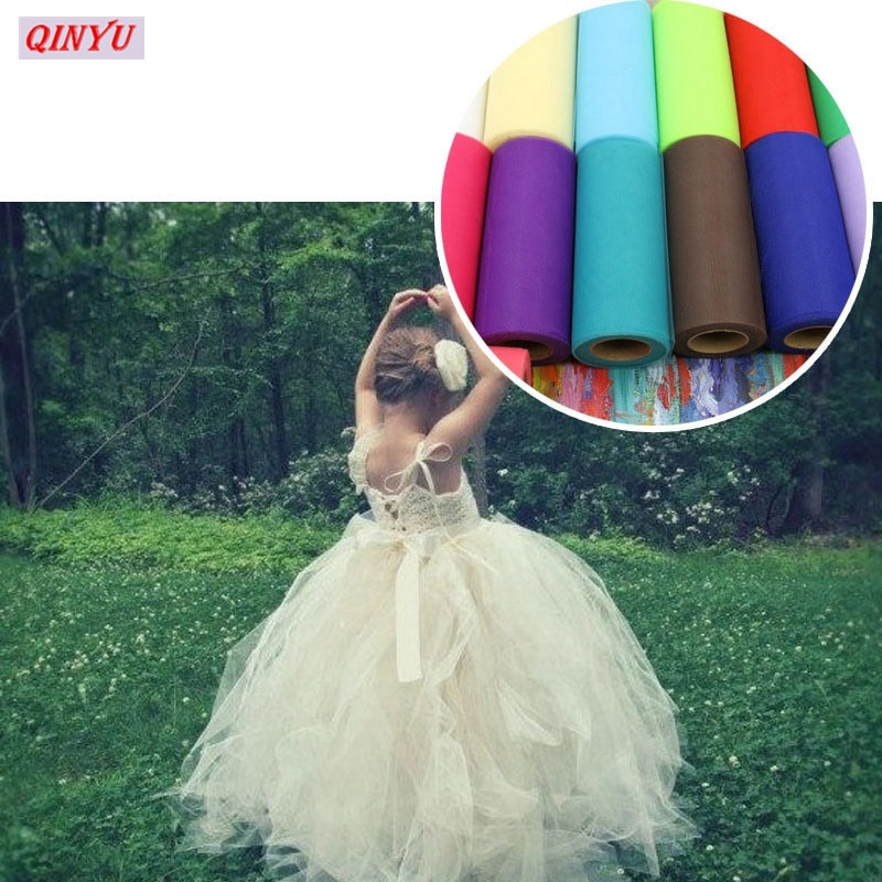 15cm x 22m colorido tul duro American Mesh Craft vestido decoración para fiesta de boda gasa pura Mesh decoración de coche de boda 8Z