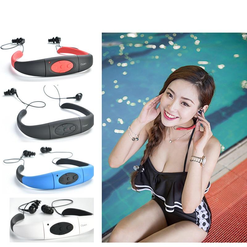 100% étanche 4 GB MP3 lecteur de musique multimédia sous-marin tour de cou natation Sport lecteur mp3 avec Radio FM stéréo écouteurs Audio