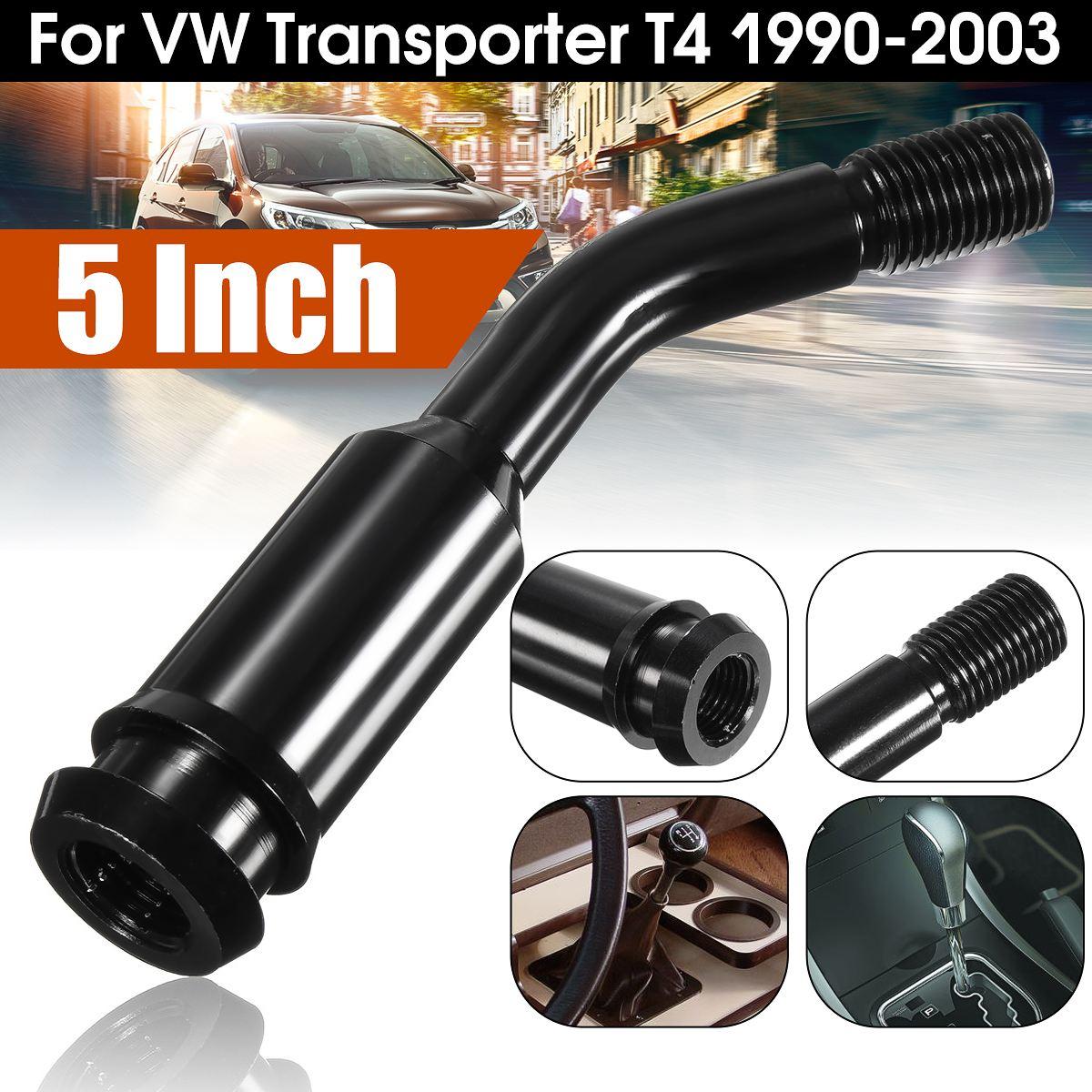 Palanca de cambios de coche negra de aluminio palanca de 5 pulgadas extensión curva para VW Transporter T4 1990-2003