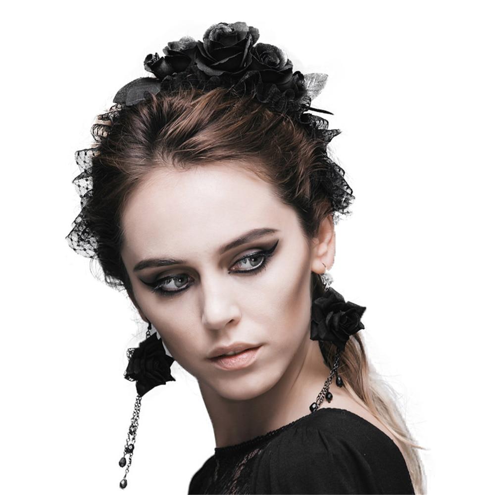 Hot Sale Gothic Five Roses Hair Band  Women Fashion Devil Brand Flower Elastic Headband Black Rose Headwear Accessories AS024