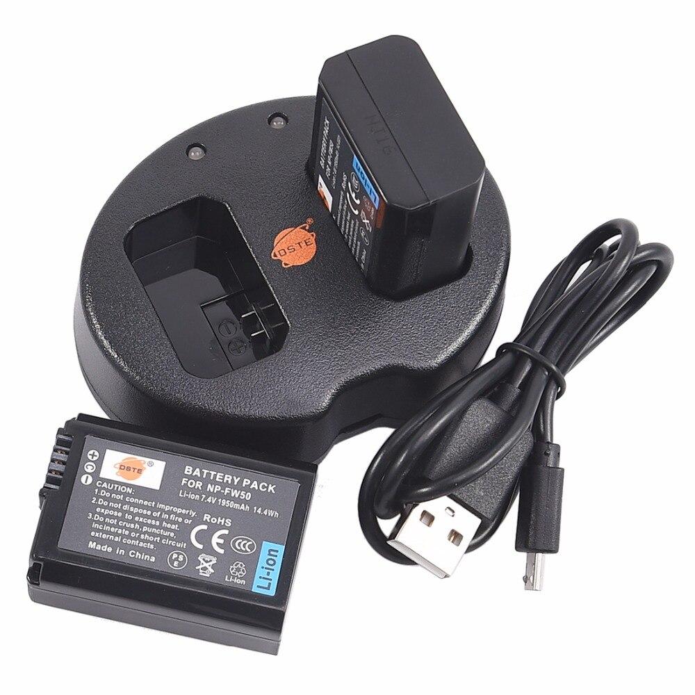 DSTE 2pcs NP-FW50 np-fw50 סוללה עם Dual USB מטען עבור Sony NEX-7, NEX-5N, NEX-F3, ST-A37, NEX-3KS, A7, a6500, a6400, a6100 מצלמה
