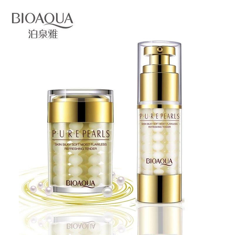 2 unids/lote BIOAQUA cristalina del puro crema de perlas para rostro + esencia ácido hialurónico profundo hidratante piel cuidado Anti arrugas blanqueamiento set facial