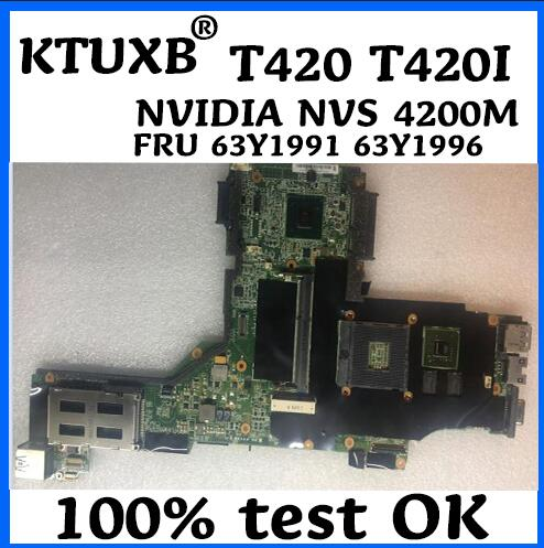 FRU 63Y1991 63Y1996 se aplica a Lenovo Thinkpad T420 T420i portátil placa base NVIDIA Quadro NVS 4200M 1G DDR3 100% prueba de trabajo