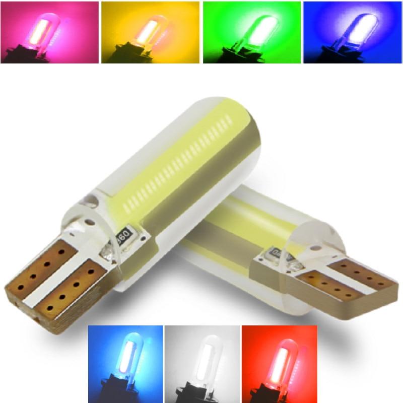 10PCS W5W T10 LED Bulb COB Clearance Lights Reading Lights Led T10 W5W Bulb White Blue Pink Green Yellow Led Lights for Car
