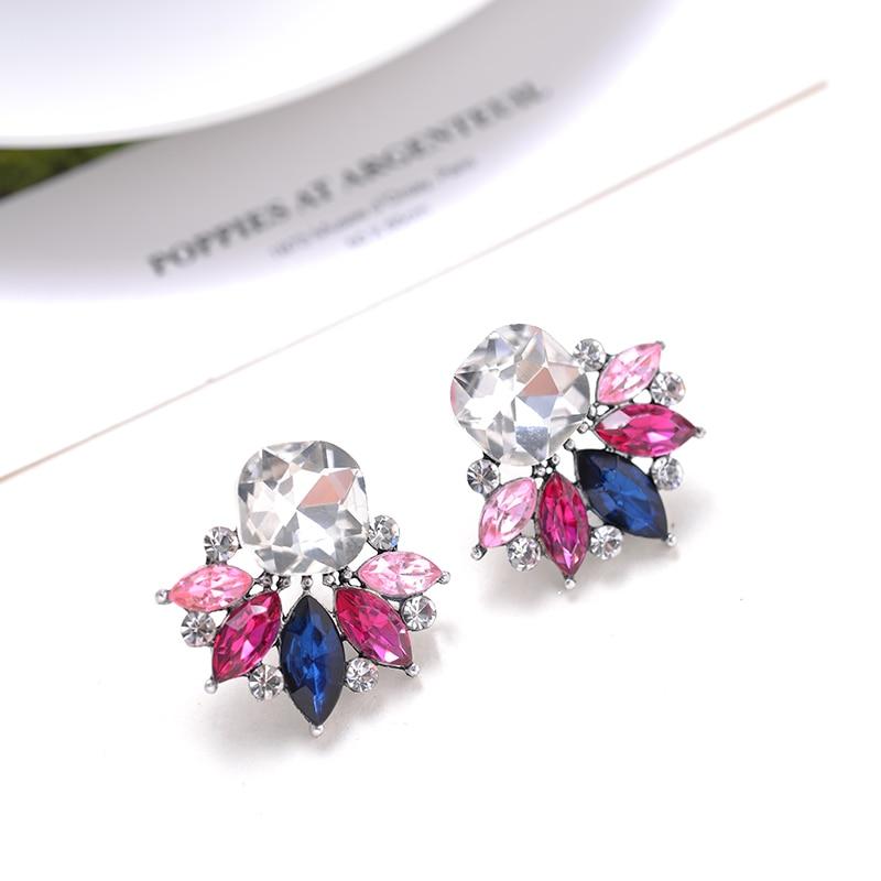 AliExpress - LUBOV Beautiful Multiple Colors Crystal Flower Stud Earrings Rhinestone Colorful Crystal Piercing Earrings Women Christmas Party