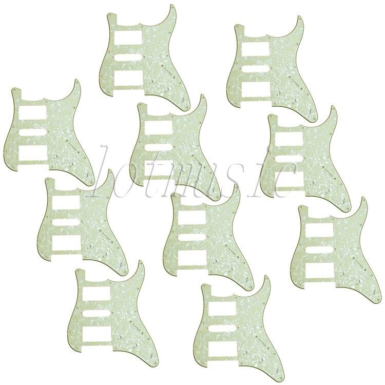 10 piezas luz verde perla HSH guitarra Pickguard para Strat eléctrico ST reemplazo de 3 capas