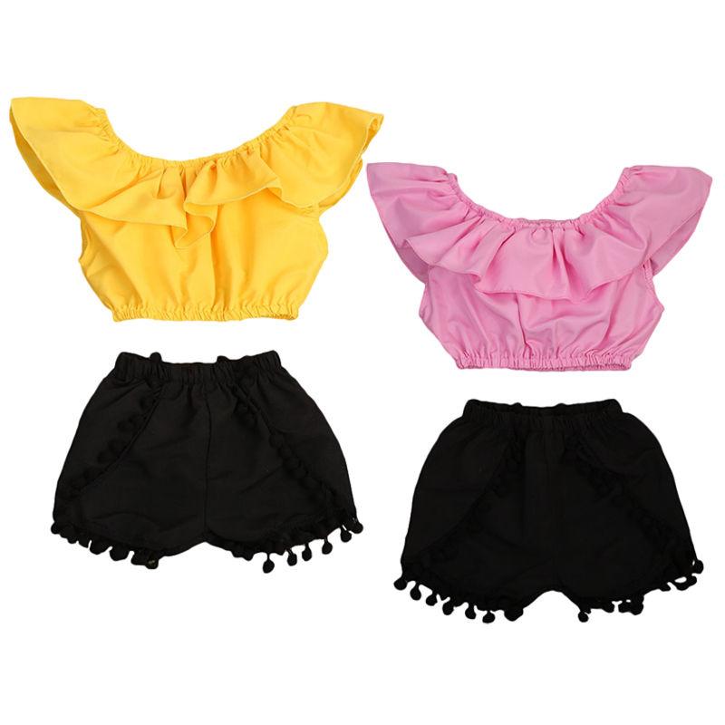 Pudoco Kids Girls Summer Clothes Infant Off the Shoulder Blouse Fringe Shorts Newborn Baby Clothes Set