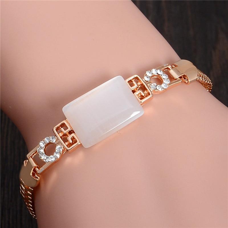 SHUANGR Bracelet Vintage Bracelet pour femme avec Bracelet oeil de chat or rempli cristal bijoux opales Bracelet TL224