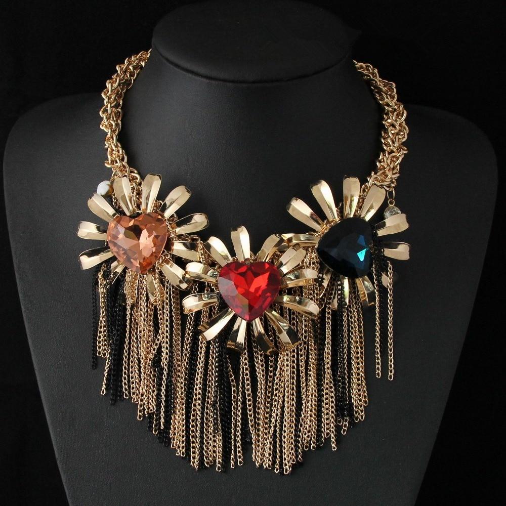 CirGen Fashion Big Heart Crystal Neck Stone Metal Flower Gold Color Choker Chain Tassel Statement collar Necklace Women Jewelry