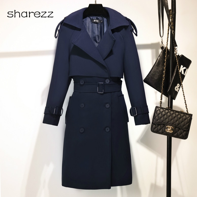 ¡Novedad de otoño e invierno de 2019! gabardinas largas ajustadas de doble botonadura para mujer de estilo coreano, abrigo azul marino para mujer