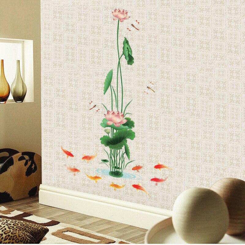 3D настенные художественные наклейки на стену 90*150 см в китайском стиле с изображением цветов лотоса, рыбы, виниловая настенная наклейка, украшение для гостиной, природы, настенные постеры