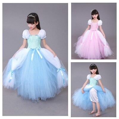 Vestidos POSH DREAM de 4 capas para niñas, vestidos de princesa azul para fiesta de Halloween, disfraz de marca para niños, ropa para niñas