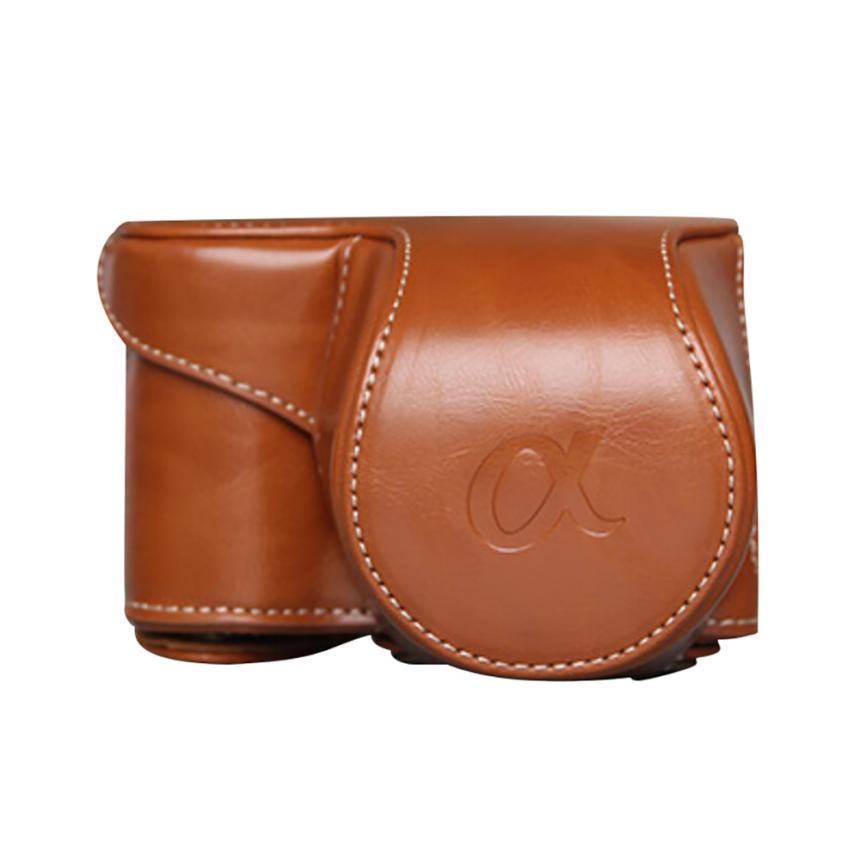 Superior Quality Leather Camera Bag Case Cover Pouch For Sony A6000 A6300 NEX6 camera backpack mochila fotografia dropshipping