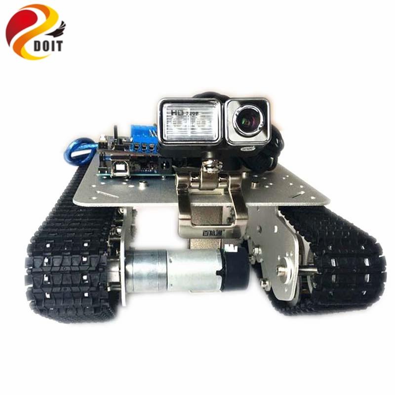 DOIT WiFi, chasis de tanque de absorción de choque TS100 por teléfono Android/ios de ESPDUINO, Kit de desarrollo con Motor de 2 vías y Servo de 16 vías