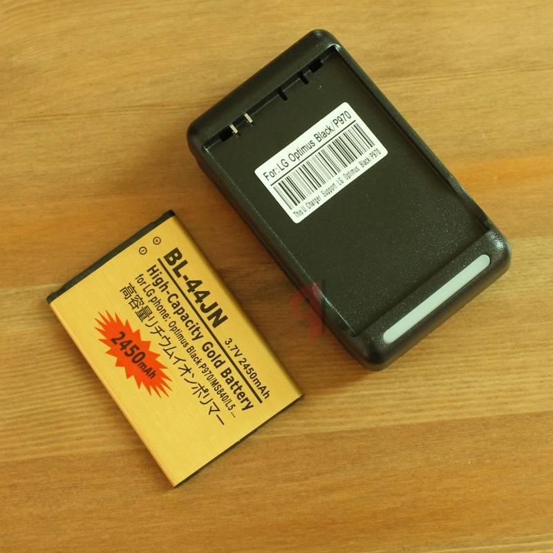 BL-44JN batería de negocios dorada de alta capacidad de 2450mAh + cargador para LG MS840 P970 L5