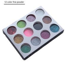 12 pièces holographique poudre poussière trempage poudre ongles Pigment paillettes acrylique poudre argent Nail Art paillettes