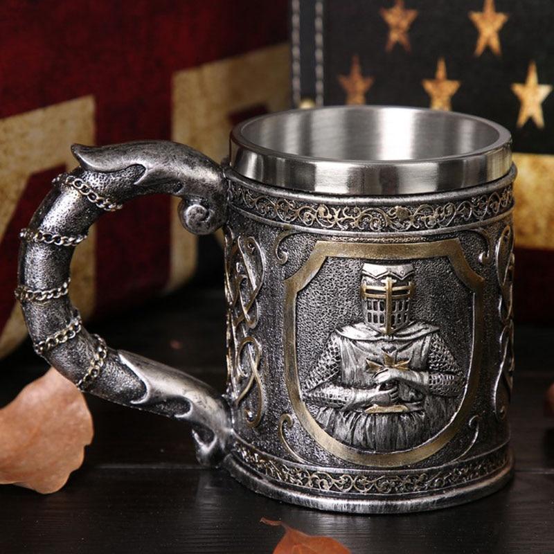 Caballero calavera cerveza taza tazón para beber Acero inoxidable Halloween regalo cerveza Goblet LBShipping